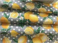 【オックス 生地】レモンと水玉*lemon*檸檬*gray whitedot*2C