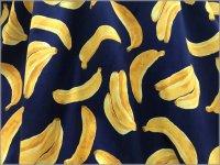 【シーチング 生地】おおきなバナナ*くだもの*navy*1D