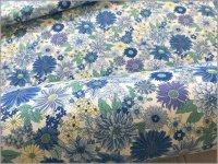【シーチング 生地】ボタニカルフラワー*花柄*water blue*1B