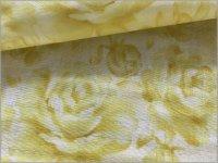 【ダブルガーゼ 生地】水彩ローズ*薔薇*lemon yellow*1B