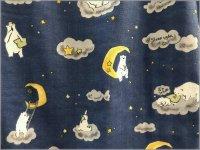 【ダブルガーゼ 生地】白くまと星お月様*night blue*1E