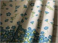 【綿麻シーチング 生地】momen-t*スカラップPt*フラワー*linen&blue*M1