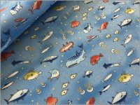 【シーチング 生地】海のいきもの*魚*ラメ*blue*1B