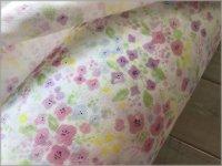 【ダブルガーゼ 生地】水彩*フラワー*offwhite pink*64A