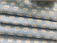【ダブルガーゼ 生地】ねこ猫*フェイス*blue*44C
