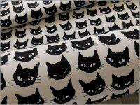 【オックス 生地】黒猫*ネコフェイス*ice grege*1A
