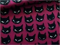 【オックス 生地】黒猫*ネコフェイス*grape*1B