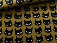 【オックス 生地】黒猫*ネコフェイス*からし*1D
