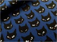 【オックス 生地】黒猫*ネコフェイス*navy*1F