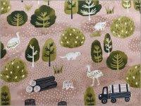 【ブロード 生地】Luonto*プレミアムソフト加工*forest*pink*C2