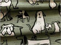 【綿麻キャンバス 生地】犬&英字*手描き風*smoke green*2D