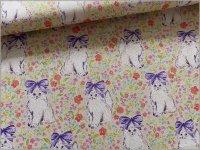 【シーチング 生地】Wonderland*猫リボン&小花*beige lavender*A3