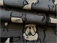 【綿麻キャンバス 生地】犬&英字*手描き風*gray*2E