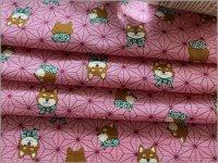 【ダブルガーゼ 生地】麻の葉&柴犬*和柄*pink*143B
