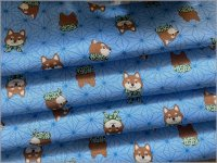【ダブルガーゼ 生地】麻の葉&柴犬*和柄*blue*143C