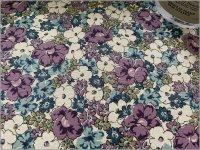 【スケア 生地】ボタニカルフラワー*花柄*purple blue*2C