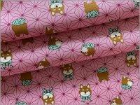 【シーチング 生地】麻の葉&柴犬*pink*3B