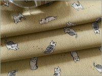 【綿麻キャンバス 生地】猫*ネコ*beige*1D