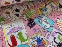 【オックス 生地】ネコ猫*手描き風*animal party*pink*2D