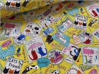 【オックス 生地】ネコ猫*手描き風*animal party*yellow*2C