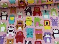 【オックス 生地】どうぶつ*手描き風*animal party*pink*1D