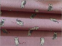 【綿麻キャンバス 生地】猫*ネコ*pink*1B