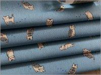 【綿麻キャンバス 生地】猫*ネコ*blue*1C