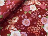 【スケア 生地】和柄*桜の詩*さくら*ラメ*red*1C