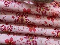 【スケア 生地】和柄*桜の詩*さくら*ラメ*pink*2B
