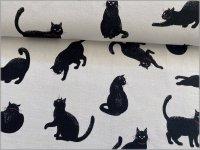【シーチング 生地】ネコ*黒猫*white*1A