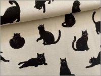 【シーチング 生地】ネコ*黒猫*生成り*1B