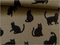 【シーチング 生地】ネコ*黒猫*khaki*1C