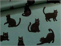 【シーチング 生地】ネコ*黒猫*smoke green*1D