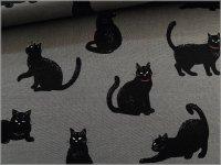 【シーチング 生地】ネコ*黒猫*gray*1F