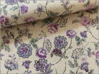 【綿麻シーチング 生地】オリエンタル*草花*ボタニカル*purple*2C