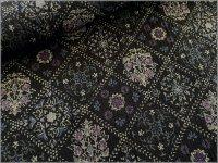 【楊柳 生地】和モダン*フラワー*black purple*2A