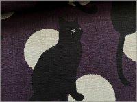 【ドビー 生地】和柄*黒猫と水玉*和モダン*purple gray*1D