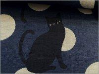 【ドビー 生地】和柄*黒猫と水玉*和モダン*navy gray*1E