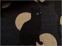 【ドビー 生地】和柄*黒猫と水玉*和モダン*black beige*1F