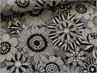 【オックス 生地】線描きフラワー*花柄*gray*3B