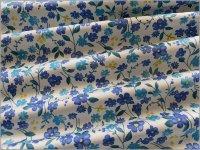 【ツイル 生地】草花ボタニカル*流れ花*offwhite blue*E2