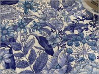 【ブロード 生地】草花*オリエンタル*ボタニカル*royal blue*A7