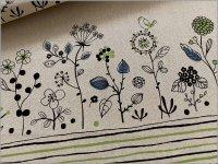 【綿麻キャンバス 生地】草花と小鳥のボーダー柄*linen*3A