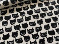 【オックス 生地】黒猫*ネコフェイス*offwhite*2A