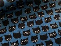 【オックス 生地】黒猫*ネコフェイス*smokeblue*2C