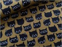 【オックス 生地】黒猫*ネコフェイス*darkmustard*2D