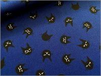 【オックス 生地】黒猫*ネコフェイス**navy*3E