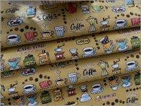 【スケア 生地】カフェ柄*coffee*caramel beige*1C