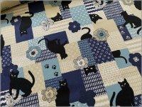 【オックス 生地】黒猫*和北モダンパッチ*blue*1A