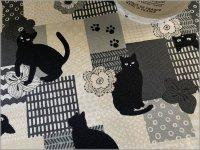 【オックス 生地】黒猫*和北モダンパッチ*sepia*1B